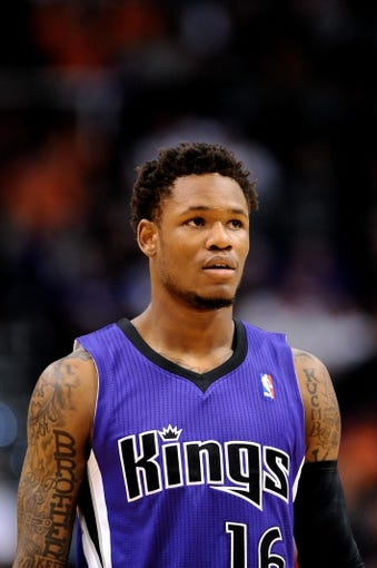 Nov 20, 2013; Phoenix, AZ, USA; Sacramento Kings guard Ben McLemore (16) watches on against the Phoenix Suns in the first half at US Airways Center. The Kings defeated the Suns 113-106. Mandatory Credit: Jennifer Stewart-USA TODAY Sports