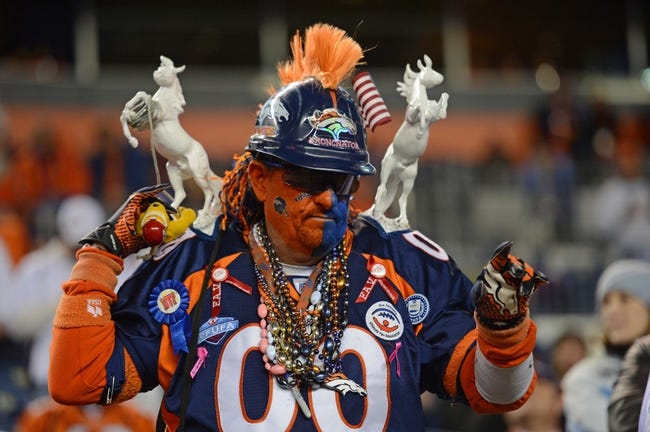 November 17, 2013; Denver, CO, USA; Denver Broncos fan Elvin DeVrorss, Broncnator, before the game against the Kansas City Chiefs at Sports Authority Field at Mile High. The Broncos defeated the Chiefs 27-17. Mandatory Credit: Kyle Terada-USA TODAY Sports