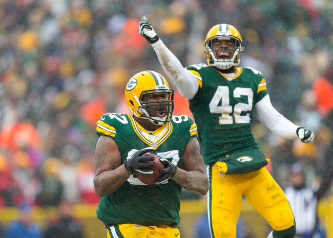 Dec 8, 2013; Green Bay, WI, USA; Green Bay Packers defensive tackle Johnny Jolly (97) celebrates a fumble recovery during the game against the Atlanta Falcons at Lambeau Field.  Green Bay won 22-21.  Mandatory Credit: Jeff Hanisch-USA TODAY Sports