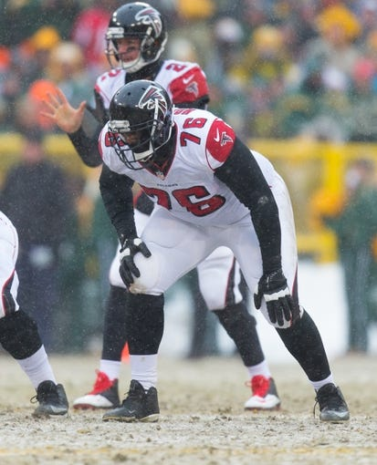 Dec 8, 2013; Green Bay, WI, USA; Atlanta Falcons offensive tackle Lamar Holmes (76) during the game against the Green Bay Packers at Lambeau Field.  Green Bay won 22-21.  Mandatory Credit: Jeff Hanisch-USA TODAY Sports
