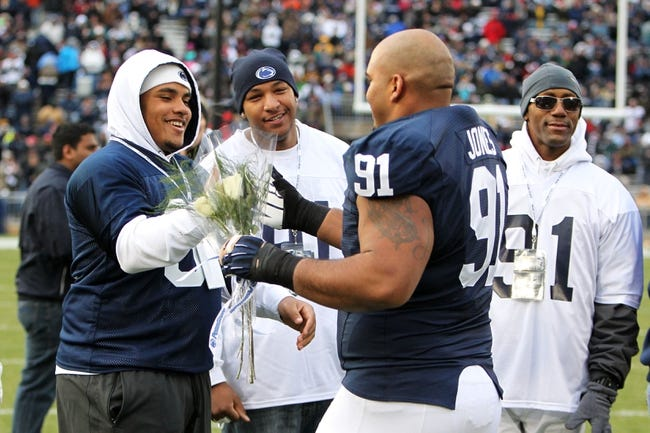 Nov 23, 2013; University Park, PA, USA; Penn State Nittany Lions defensive tackle DaQuan Jones (91) during senior day recognition prior to the game against the Nebraska Cornhuskers at Beaver Stadium. Nebraska defeated Penn State 23-20 in overtime. Mandatory Credit: Matthew O'Haren-USA TODAY Sports