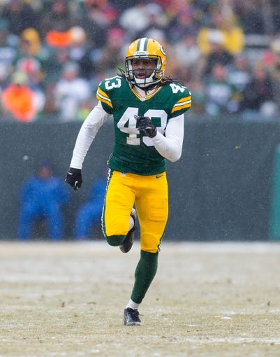 Dec 8, 2013; Green Bay, WI, USA; Green Bay Packers safety M.D. Jennings (43) during the game against the Atlanta Falcons at Lambeau Field.  Green Bay won 22-21.  Mandatory Credit: Jeff Hanisch-USA TODAY Sports