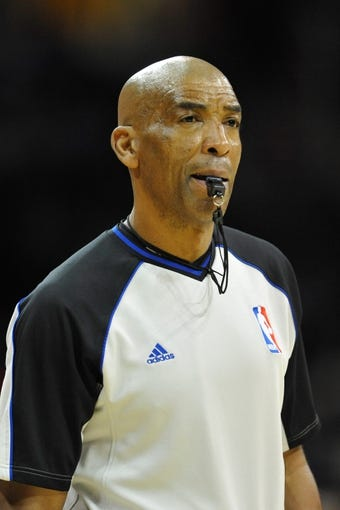 Dec 10, 2013; Cleveland, OH, USA; NBA referee Leon Wood during a game between the Cleveland Cavaliers and the New York Knicks at Quicken Loans Arena. Cleveland won 109-94. Mandatory Credit: David Richard-USA TODAY Sports