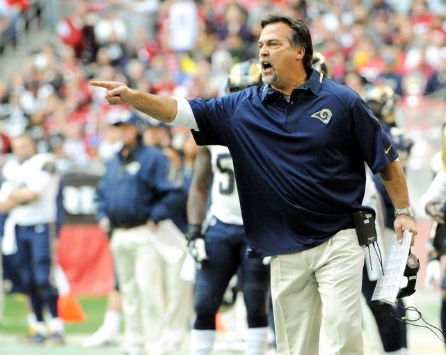 Dec 8, 2013; Phoenix, AZ, USA; St. Louis Rams head coach Jeff Fisher reacts during the second quarter against the Arizona Cardinals at University of Phoenix Stadium. Arizona won 30-10. Mandatory Credit: Casey Sapio-USA TODAY Sports
