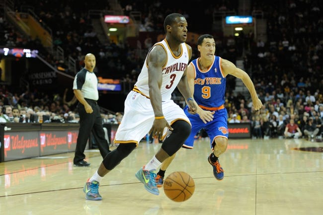 Dec 10, 2013; Cleveland, OH, USA; Cleveland Cavaliers shooting guard Dion Waiters dribbles against New York Knicks point guard Pablo Prigioni (9) at Quicken Loans Arena. Cleveland won 109-94. Mandatory Credit: David Richard-USA TODAY Sports