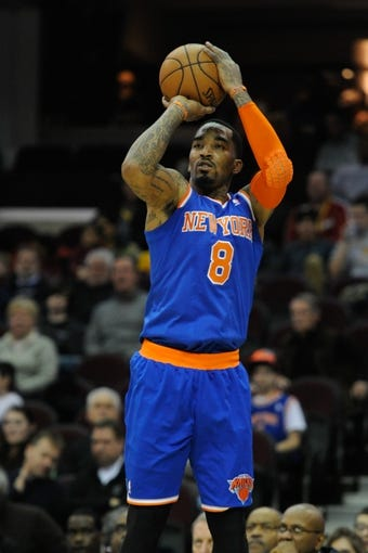 Dec 10, 2013; Cleveland, OH, USA; New York Knicks shooting guard J.R. Smith during a game against the Cleveland Cavaliers at Quicken Loans Arena. Cleveland won 109-94. Mandatory Credit: David Richard-USA TODAY Sports