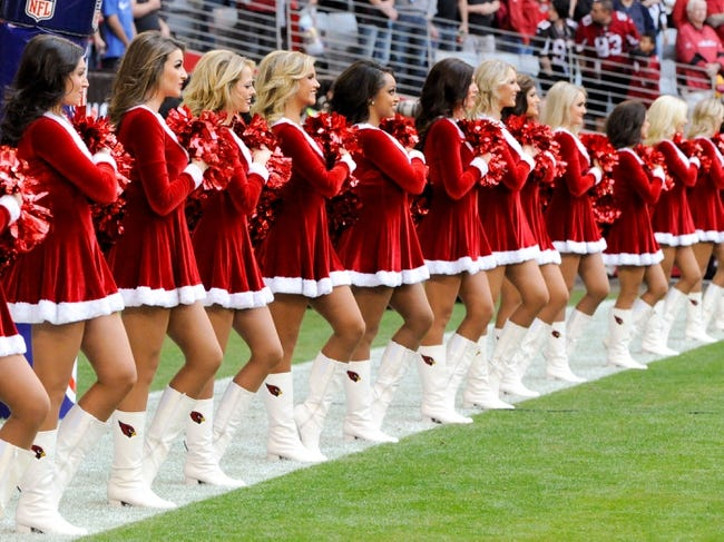Dec 8, 2013; Phoenix, AZ, USA; Arizona Cardinals cheerleaders line up during the national anthem before the first quarter against the St. Louis Rams at University of Phoenix Stadium. Arizona won 30-10. Mandatory Credit: Casey Sapio-USA TODAY Sports