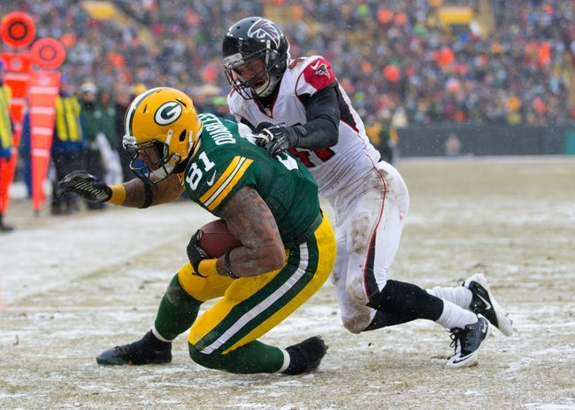 Dec 8, 2013; Green Bay, WI, USA; Green Bay Packers tight end Andrew Quarless (81) during the game against the Atlanta Falcons at Lambeau Field.  Green Bay won 22-21.  Mandatory Credit: Jeff Hanisch-USA TODAY Sports