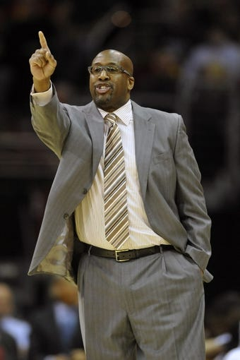 Dec 17, 2013; Cleveland, OH, USA; Cleveland Cavaliers head coach Mike Brown yells in the third quarter against the Portland Trail Blazers at Quicken Loans Arena. Mandatory Credit: David Richard-USA TODAY Sports