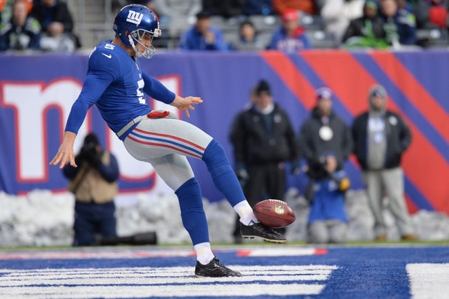 Dec 15, 2013; East Rutherford, NJ, USA; New York Giants punter Steve Weatherford (5) punts the ball against the Seattle Seahawks at MetLife Stadium. The Seahawks won the game 23-0. Mandatory Credit: Joe Camporeale-USA TODAY Sports
