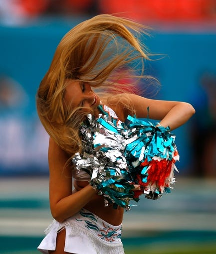 Dec 15, 2013; Miami Gardens, FL, USA: A Miami Dolphins cheerleader performs in the first quarter of a game against the New England Patriots at Sun Life Stadium. Mandatory Credit: Robert Mayer-USA TODAY Sports