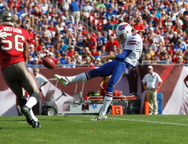 Dec 8, 2013; Tampa, FL, USA; Buffalo Bills punter Brian Moorman (8) punts the ball during the first half against the Tampa Bay Buccaneers at Raymond James Stadium. Mandatory Credit: Kim Klement-USA TODAY Sports