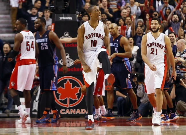 Dec 18, 2013; Toronto, Ontario, CAN; Toronto Raptors guard DeMar DeRozan (10) reacts after making one of two free throws in overtime against the Charlotte Bobcats at the Air Canada Centre. Charlotte defeated Toronto 104-102 in overtime. Mandatory Credit: John E. Sokolowski-USA TODAY Sports