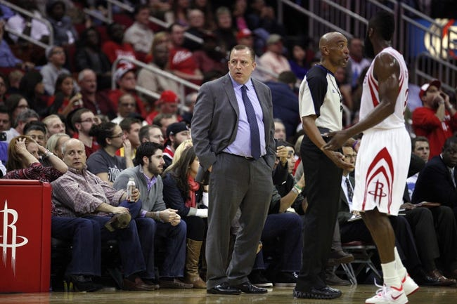 Dec 18, 2013; Houston, TX, USA; Chicago Bulls head coach Tom Thibodeau reacts to a play during the second quarter against the Houston Rockets at Toyota Center. Mandatory Credit: Andrew Richardson-USA TODAY Sports