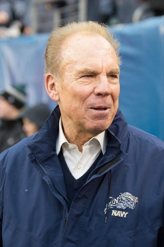 Dec 14, 2013; Philadelphia, PA, USA; Heisman Trophy winner and Naval Academy alumnus Roger Staubach is seen here on the sidelines prior to the start of the 114th Army-Navy game at Lincoln Financial Field. Navy Midshipmen defeated Army Black Knights 34-7. Mandatory Credit: Tommy Gilligan-USA TODAY Sports