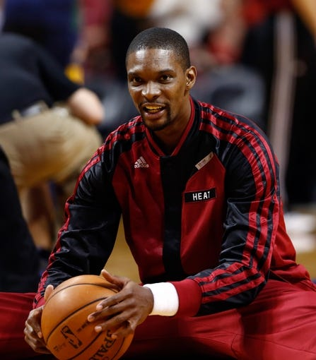 Dec 16, 2013; Miami, FL, USA;  Miami Heat center Chris Bosh  before a game against the Utah Jazz at American Airlines Arena. Mandatory Credit: Robert Mayer-USA TODAY Sports