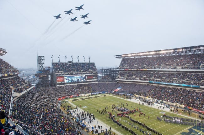 Dec 14, 2013; Philadelphia, PA, USA; The U.S. Navy Blue Angels conduct a fly over prior to the start of the 114th Army-Navy game at Lincoln Financial Field. Navy Midshipmen defeated Army Black Knights 34-7. Mandatory Credit: Tommy Gilligan-USA TODAY Sports