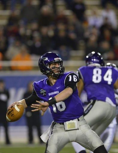 Dec 20, 2013; Salem, VA, USA; UW-Whitewater quarterback Matt Behrendt (16) looks to pass in the first quarter at Salem Stadium. Mandatory Credit: Bob Donnan-USA TODAY Sports