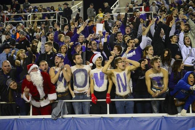 Dec 20, 2013; Salem, VA, USA; Mount Union Purple Raiders fans cheer in the second quarter at Salem Stadium. Mandatory Credit: Bob Donnan-USA TODAY Sports