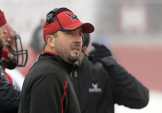 Dec 21, 2013; Cheney, WA, USA; Eastern Washington Eagles head coach Beau Baldwin looks on against the Towson Tigers during the second half at Roos Field. The Tiger beat Eagles 35-31. Mandatory Credit: James Snook-USA TODAY Sports