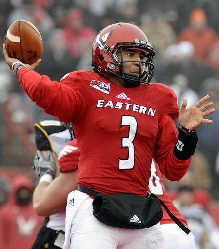 Dec 21, 2013; Cheney, WA, USA; Eastern Washington Eagles quarterback Vernon Adams (3) drops back for a pass against the Towson Tigers during the second half at Roos Field. The Tiger beat Eagles 35-31. Mandatory Credit: James Snook-USA TODAY Sports