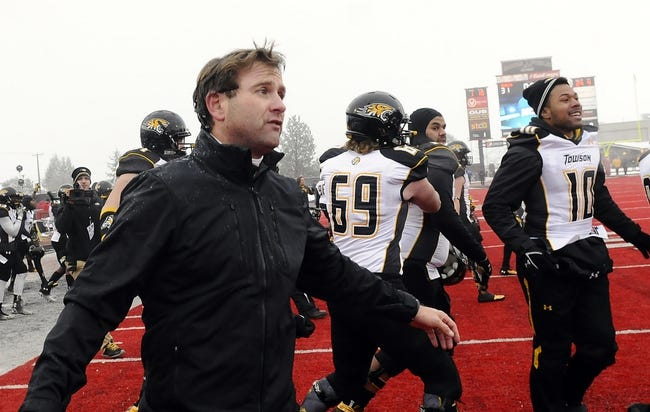 Dec 21, 2013; Cheney, WA, USA; Towson Tigers head coach Rob Ambrose celebrates after a game against the Eastern Washington Eagles at Roos Field. The Tiger beat Eagles 35-31. Mandatory Credit: James Snook-USA TODAY Sports