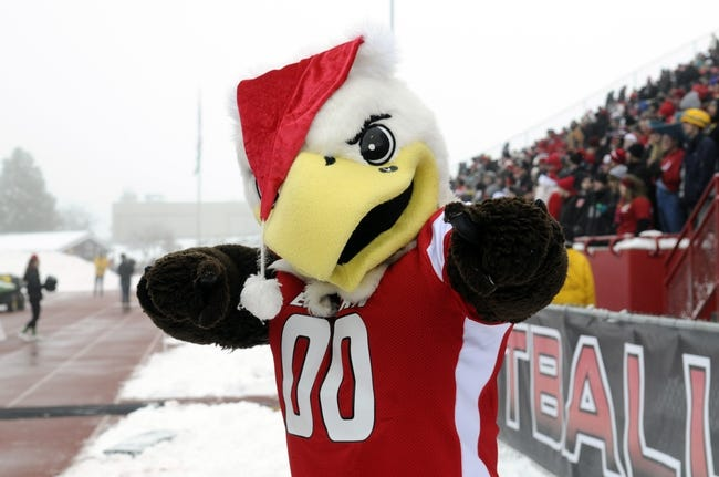 Dec 21, 2013; Cheney, WA, USA; Eastern Washington Eagles mascot Swoop poses for a photo during a game against the Towson Tigers during the first half at Roos Field. Mandatory Credit: James Snook-USA TODAY Sports