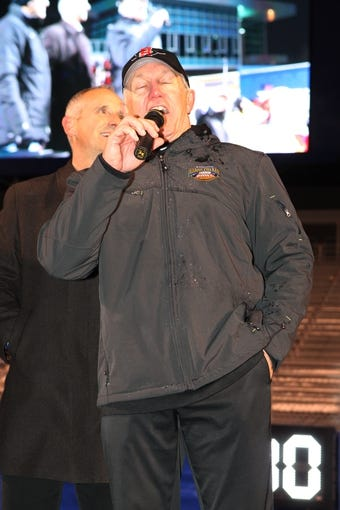 Dec 21, 2013; Boise, ID, USA; San Diego State Aztecs head coach Rocky Long address the crowd  during the celebration of the Aztecs win over Buffalo at the Idaho Potato Bowl at Bronco Stadium. San Diego defeated Buffalo 49-24. Mandatory Credit: Brian Losness-USA TODAY Sports