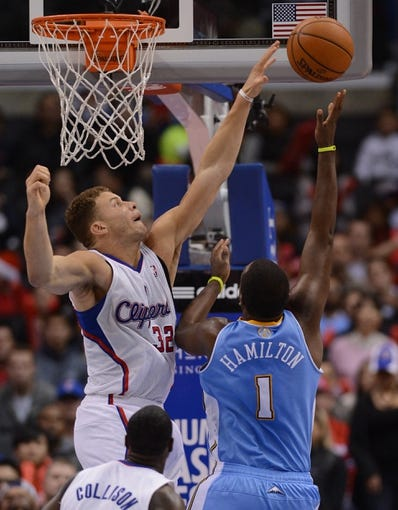 Dec 21, 2013; Los Angeles, CA, USA;  Los Angeles Clippers power forward Blake Griffin (32) in the second half of the game against the Denver Nuggets at Staples Center. The Clippers won 112-91. Mandatory Credit: Jayne Kamin-Oncea-USA TODAY Sports