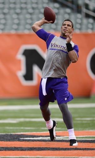 Dec 8, 2013; Cincinnati, OH, USA;  Minnesota Vikings quarterback Josh Freeman (12) warms up before the game against the Cincinnati Bengals at Paul Brown Stadium. Mandatory Credit: Marc Lebryk-USA TODAY Sports