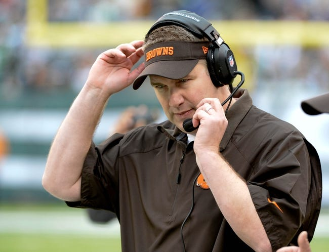 Dec 22, 2013; East Rutherford, NJ, USA; Cleveland Browns head coach Rob Chudzinski during the game against the New York Jets at MetLife Stadium. Mandatory Credit: Robert Deutsch-USA TODAY Sports
