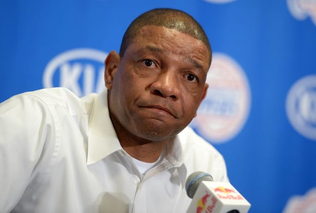 Dec 16, 2013; Los Angeles, CA, USA; Los Angeles Clippers coach Doc Rivers at press conference before the game against the San Antonio Spurs at Staples Center. Mandatory Credit: Kirby Lee-USA TODAY Sports