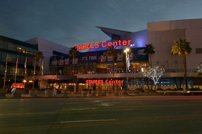 Dec 16, 2013; Los Angeles, CA, USA; General view of the Staples Center exterior before the NBA game between the San Antonio Spurs and the Los Angeles Clippers. Mandatory Credit: Kirby Lee-USA TODAY Sports