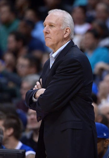 Dec 16, 2013; Los Angeles, CA, USA; San Antonio Spurs coach Gregg Popovich reacts during the game against the Los Angeles Clippers at Staples Center. The Clippers defeated the Spurs 115-92. Mandatory Credit: Kirby Lee-USA TODAY Sports