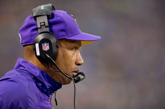 Dec 15, 2013; Minneapolis, MN, USA; Minnesota Vikings head coach Leslie Frazier watches as his team plays the Philadelphia Eagles at Mall of America Field at H.H.H. Metrodome. The Vikings win 48-30. Mandatory Credit: Bruce Kluckhohn-USA TODAY Sports