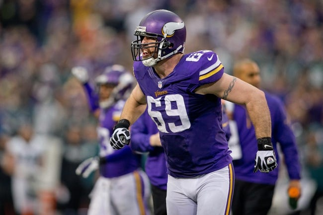 Dec 15, 2013; Minneapolis, MN, USA; Minnesota Vikings defensive end Jared Allen (69) celebrates a failed fourth down attempt by the Philadelphia Eagles in the third quarter at Mall of America Field at H.H.H. Metrodome. The Vikings win 48-30. Mandatory Credit: Bruce Kluckhohn-USA TODAY Sports