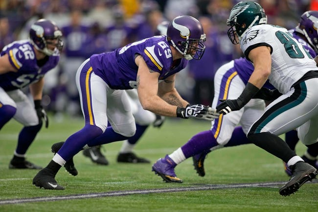 Dec 15, 2013; Minneapolis, MN, USA; Minnesota Vikings defensive end Jared Allen (69) rushes against the Philadelphia Eagles in the first quarter at Mall of America Field at H.H.H. Metrodome. The Vikings win 48-30. Mandatory Credit: Bruce Kluckhohn-USA TODAY Sports