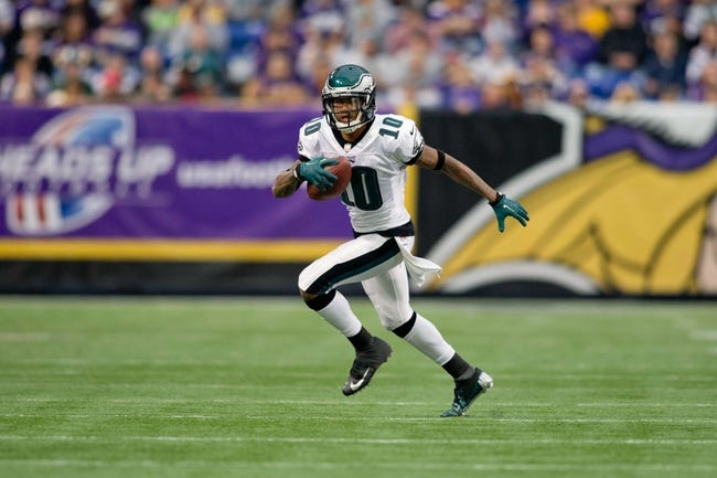 Dec 15, 2013; Minneapolis, MN, USA; Philadelphia Eagles wide receiver DeSean Jackson (10) catches a pass against the Minnesota Vikings in the second quarter at Mall of America Field at H.H.H. Metrodome. The Vikings win 48-30. Mandatory Credit: Bruce Kluckhohn-USA TODAY Sports
