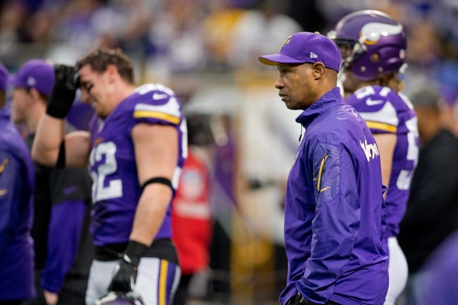 Dec 15, 2013; Minneapolis, MN, USA; Minnesota Vikings head coach Leslie Frazier watches his team prepare to play the Philadelphia Eagles at Mall of America Field at H.H.H. Metrodome. The Vikings win 48-30. Mandatory Credit: Bruce Kluckhohn-USA TODAY Sports
