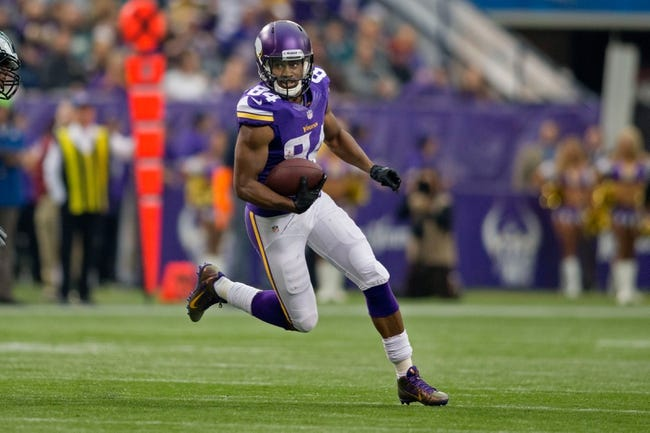 Dec 15, 2013; Minneapolis, MN, USA; Minnesota Vikings wide receiver Cordarrelle Patterson (84) catches a pass against the Philadelphia Eagles in the second quarter at Mall of America Field at H.H.H. Metrodome. The Vikings win 48-30. Mandatory Credit: Bruce Kluckhohn-USA TODAY Sports