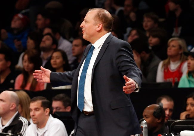 Dec 25, 2013; Brooklyn, NY, USA;  Chicago Bulls head coach Tom Thibodeau reacts during the first quarter against the Brooklyn Nets at Barclays Center. Mandatory Credit: Anthony Gruppuso-USA TODAY Sports