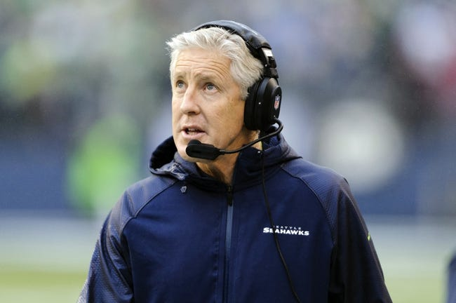 Dec 22, 2013; Seattle, WA, USA; Seattle Seahawks head coach Pete Carroll during the game against the Arizona Cardinals at CenturyLink Field. Arizona defeated Seattle 17-10. Mandatory Credit: Steven Bisig-USA TODAY Sports
