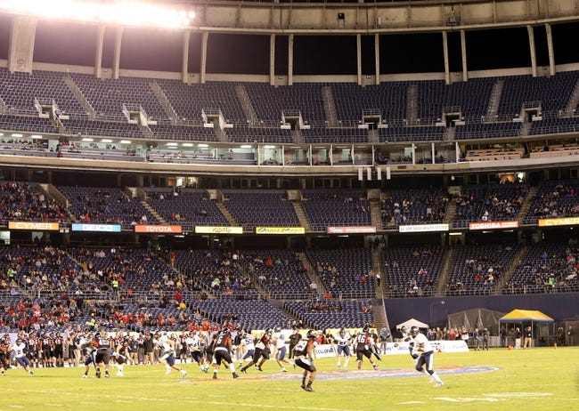 Dec 26, 2013; San Diego, CA, USA; General view of the 2013 Poinsettia Bowl between the Utah State Aggies and the Northern Illinois Huskies at Qualcomm Stadium. Mandatory Credit: Kirby Lee-USA TODAY Sports