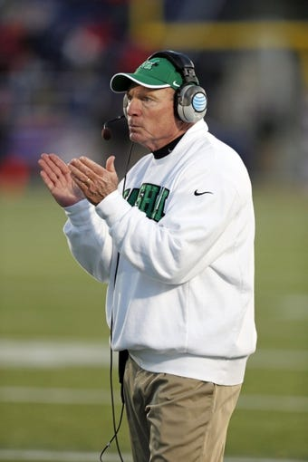 Dec 27, 2013; Annapolis, MD, USA; Marshall Thundering Herd head coach Doc Holliday applauds his team during the game against the Maryland Terrapins during the 2013 Military Bowl at Navy-Marine Corps Memorial Stadium. Mandatory Credit: Mitch Stringer-USA TODAY Sports