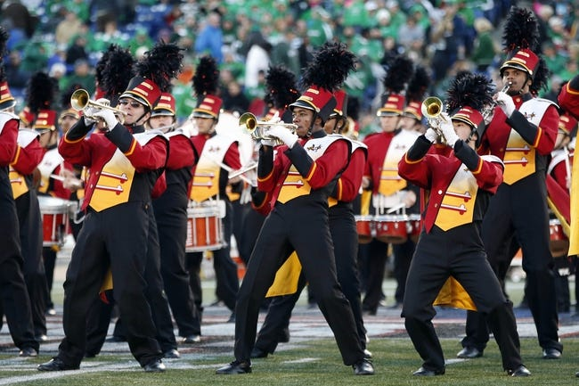 Dec 27, 2013; Annapolis, MD, USA; The Maryland Terrapins band members preform on the field during a stoppage in play against the Marshall Thundering Herd during the 2013 Military Bowl at Navy Marine Corps Memorial Stadium. Mandatory Credit: Geoff Burke-USA TODAY Sports