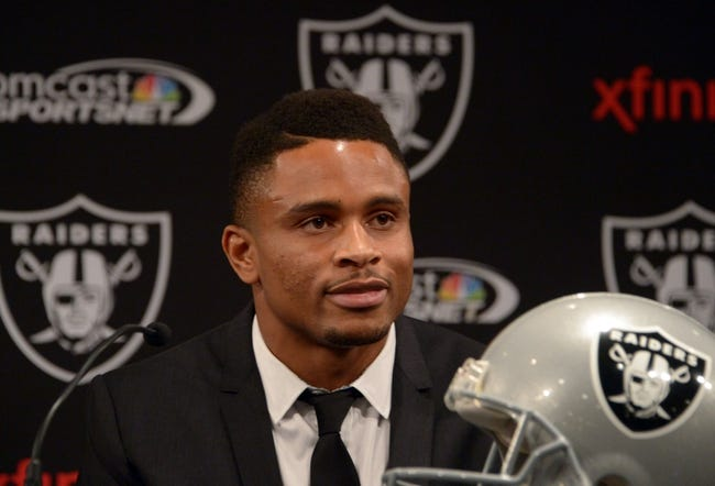 Dec 27, 2013; Alameda, CA, USA; Oakland Raiders former cornerback Nnamdi Asomugha announces his retirement at press conference at Oakland Raiders Practice Facility. Mandatory Credit: Kirby Lee-USA TODAY Sports
