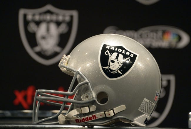 Dec 27, 2013; Alameda, CA, USA; General view of an Oakland Raiders helmet at press conference at Oakland Raiders Practice Facility. Mandatory Credit: Kirby Lee-USA TODAY Sports