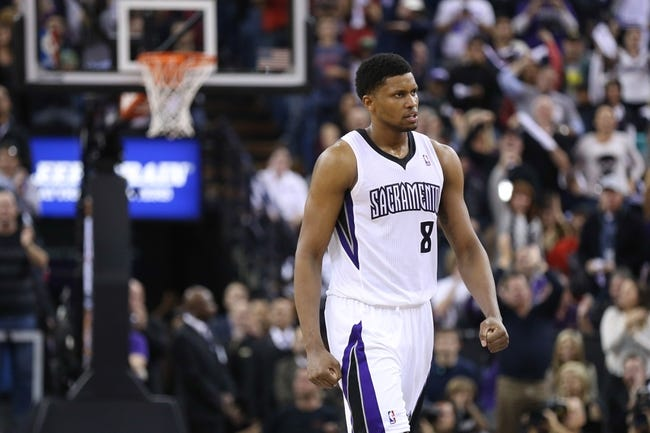 Dec 27, 2013; Sacramento, CA, USA; Sacramento Kings small forward Rudy Gay (8) reacts after forcing a turnover against the Miami Heat during the fourth quarter at Sleep Train Arena. The Sacramento Kings defeated the Miami Heat 108-103 in overtime. Mandatory Credit: Kelley L Cox-USA TODAY Sports