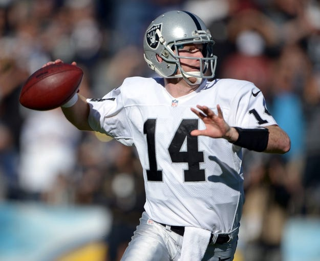 Dec 22, 2013; San Diego, CA, USA; Oakland Raiders quarterback Matt McGloin (14) throws a pass during the first half against the San Diego Chargers at Qualcomm Stadium. Mandatory Credit: Kirby Lee-USA TODAY Sports