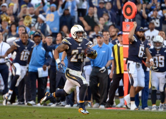 Dec 22, 2013; San Diego, CA, USA; San Diego Chargers running back Ryan Mathews (24) carries the ball in the second half against the Oakland Raiders at Qualcomm Stadium. The Chargers won 26-13.Mandatory Credit: Kirby Lee-USA TODAY Sports